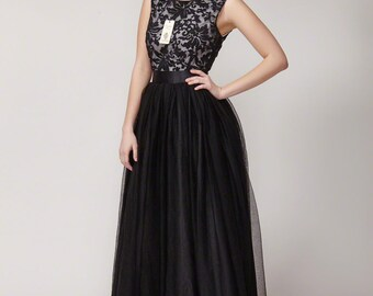 Black Lace Dress - Lace Tulle Dress - Fit And Flare Lace Dress - Little Black Dress - Black Maxi Dress - Black Prom Dress - B406