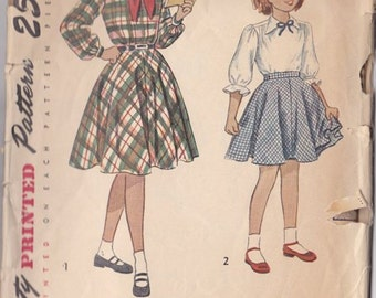 Girls Dress Pattern - Full Circle Skirt - Simplicity 2595 Size 10 - Cut - Complete 1940s - 1950s