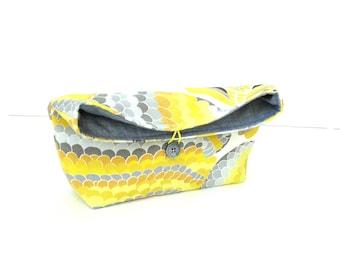 Fold over clutch, pouch purse, button closure, yellow grey cotton Spring handbag