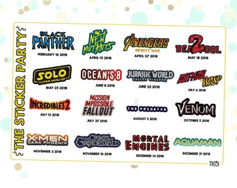 2018 Action Movies Planner Stickers