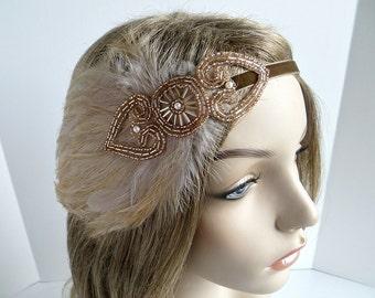 Champagne 1920s Hairband, Roaring 20s Dress Headpiece, Great Gatsby Headpiece, Flapper Headbands, Gatsby Headband, 1920s Wedding Headpiece