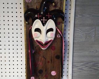Handcrafted Vintage Mask on Old Barnwood