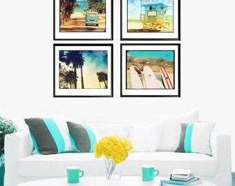 Beach Wall Art Photography Set, VW Bus Art, Retro Beach Surf Wall Art, Beach Home Decor, Surfboard Art,  Palm Trees