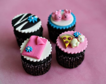Fondant Sleepover Slumber Party Toppers for Cupcakes, Cookies or other Treats