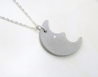 Necklace Concrete Moon with sparkling Crystal Crescent gift