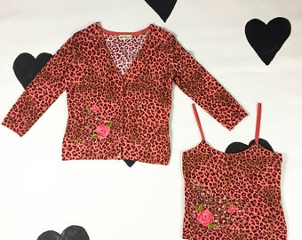90's leopard print rose patch embroidery knit cardigan tank top set / cutout / Blumarine maximalist matching top sweater Made in Italy L 12