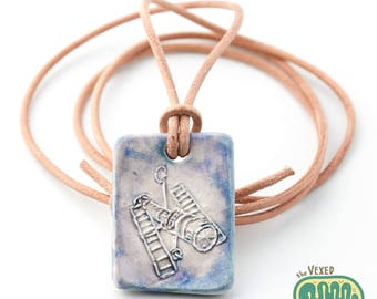 Hubble space telescope necklace, astronomy science jewellery with adjustable leather cord