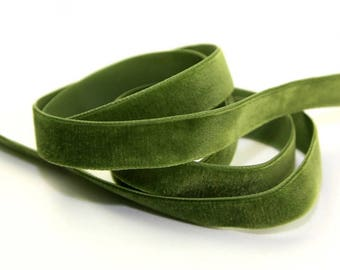 50mm (2 inch) wide Luxury Velvet Ribbon   MOSS GREEN    per metre; High End Quality. Sashes, Weddings, Dressmaking etc