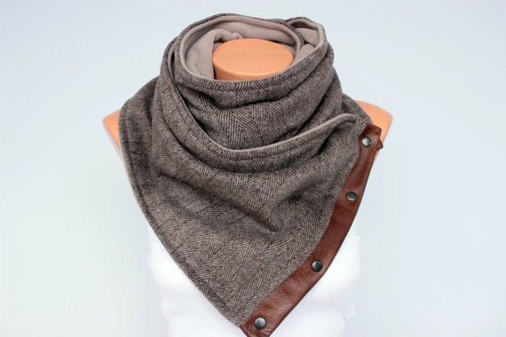 Mens scarf neckwarmer chunky infinity scarf with snaps husband boy friend brother gift ,EXPRESS SHIPPING
