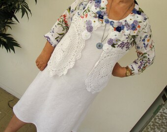 Summer Garden - Plus Size Bohemian Upcycled Couture Jacket
