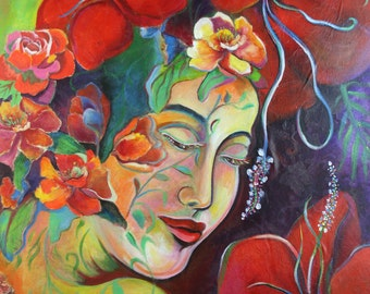 Goddess Inspirational Art - SOUL SPEAKS by Sofan Chan- Giclee Canvas Print 18x24inches. Perfect gift for wife, mother and girl friends