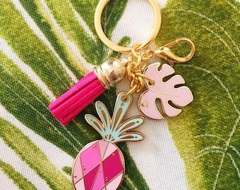 Pink Piña Hard Enamel Keychain
