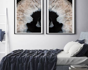 Set of 2 Agate Prints  - Prints (Print #026 and 029) - Fine Art Print - Two Paper Choices- Mineral Geode Agate Crystal Decor