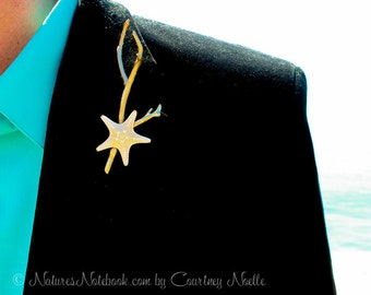 Beach Wedding Starfish Boutonniere, Coral Shape Inspired , Starfish Lapel Pin, Groom Beach, Choose from 46 Different Colors - Coral Design