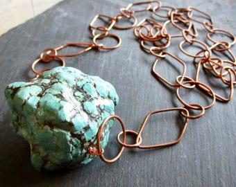 RARE HUGE Turquoise Copper ABACUS - Wilma Flintstone Necklace - Statement - Etsy Jewelry - catROCKS - Rough Cut - Grace Frankie - Big - ooak