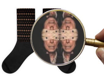 A Closer Look David Bowie Blackstar Button Eyes Impressionism Optical Illusion Socks