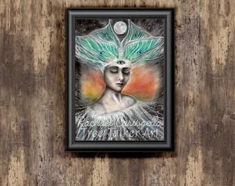 Wisdom - by Tree Talker Art - Rachael Caringella - Luna Moth - Third Eye - Portrait
