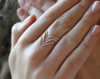 Set of Three Sterling Silver Chevron Ring Set / Boho Jewelry / Minimalist Jewelry