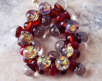 The world in a drop. Handmade Lampwork Glass Drops (10 pcs) Red, Amber, Raku, 16-17 mm х 9-10 mm. Air Bubble Lampwork Beads. Made to order.