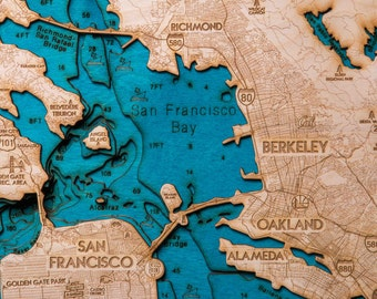 San Francisco Bay Wooden 3-D Map