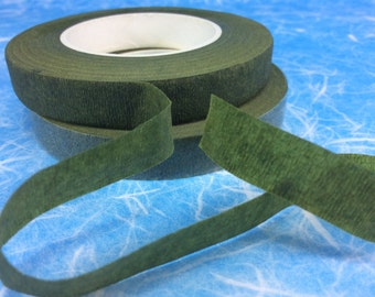 2 Rolls Floral Tape 30 Yards Foral Dark Green Glue Cohesive 12 mm Pair Artificial Flower Stem Tool Supply