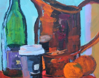 Art and Collectibles, fine art, Still Life Painting, original art, Copper, Clementines, Wine and Take Out Coffee Container 9x12 acrylic