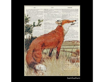 Vintage Red Fox Illustration - Dictionary Art Print - Book Page Art Print - Wildlife Print No. P404