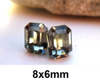 8x6mm Studs, Black Diamond Earrings, Swarovski, Octagon Rhinestone Studs, Crystal Studs