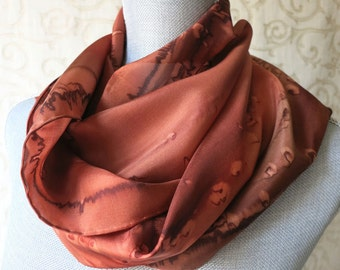 Silk Scarf Hand Dyed in Beautiful Browns