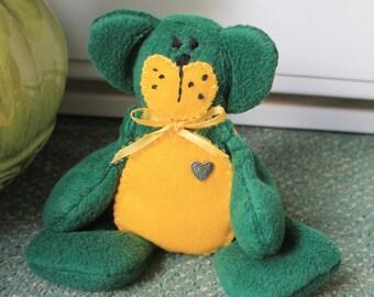 Green/yellow fleece beanie teddy bear,plush beanie teaddy bear,green teddy bear,green beanie teddy bear,green plush teddy bear.