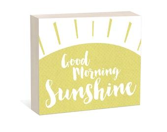 Good Morning Sunshine  -  Woodblock Art Sign