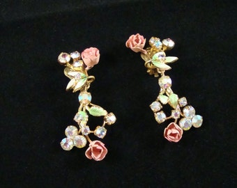 Vintage Rose & AB Rhinestone Earrings, Enamel Rose and Crystal Drop Earrings