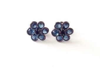 Vintage Crystal Glass Bezel Flower Stud Earrings