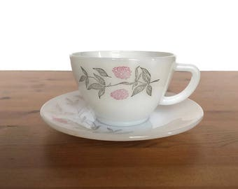 Federal glass heat proof Clover Blossom pattern coffee mug and saucer