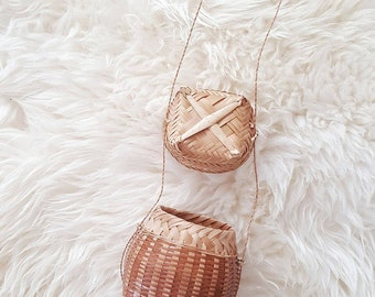 Unique wicker rattan boho basket with attached lid