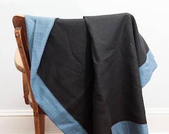 Black Blue Throw Blanket, Black Blue, Throw Blanket, Linen Blanket, Lightweight Blanket, Linen Throw, Summer Blanket, Soft Linen Blanket
