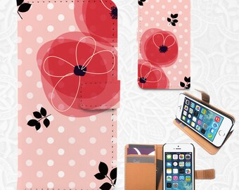 Dots floral iPhone/smartphone flip PU leather Wallet case for  iPhone 6, 6 plus, 5, 5s, 5c, 4, 4s,  Sony Z3, Z4, Moto X, Moto X2, Samsung