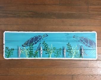 Turtle with seagrass cleat rack, Nautical Cleat Rack, Patio Hooks, Dock Cleat Rack, Coastal Decor, Pool towel hooks, Coastal Decor