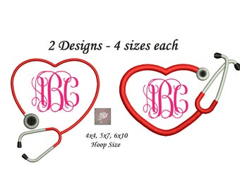 Stethoscope Embroidery Design - 2 designs instant download - 4 sizes each 4x4, 5x7, 6x10 Heart Stethoscope Embroidery Design