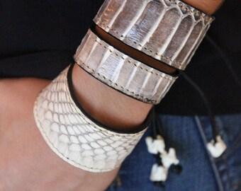 Genuine Cobra Snake Skin Bracelet/Cobra Leather/Exotic Leather/Thick Cuff Bracelet (Cobra Snakeskin)