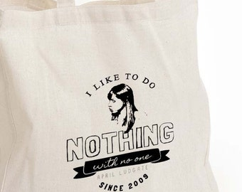 April Ludgate eco tote bag, Parks and Rec tote, Parks and Rec fan gift, I want to do nothing with no one Canvas Eco Tote Bag