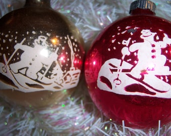 Vintage Old 1950's Shiny Brite Mercury Glass Snowman Snow Man Skiing Stenciled Christmas Tree Ornaments Red Gold Set of Two