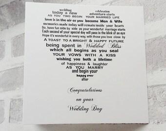 Wedding Card, Wedding Day Card, Card for Bride and Groom, Wedding Congratulations Card, Mr + Mrs card, Your Wedding