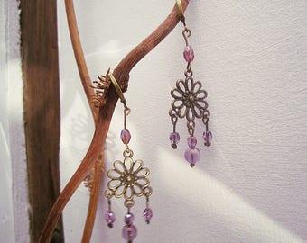 Flower Earrings hanging purple faceted beads