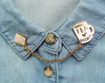 Tea Loves Biscuits Chained Enamel Pin Duo - Mug Lapel Pin - Cup Badge - Chain Collar Clip - Cookie & Tea Pin - Tea Flair
