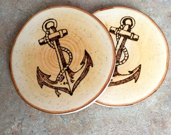 Woodburned Coaster, Anchor Coaster, Wood Coaster, Maple Coaster, Made In Maine, Nautical Coaster, Housewarming Gift, Hostess Gift, Coasters
