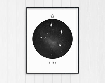 Libra Print, Libra Zodiac, Libra Art, Libra Printable Birthday Gift, Libra Constellation, Horoscope Decor, Digital Download, Zodiac Art