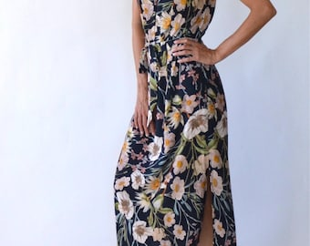 Floral maxi dress - boho bridesmaid - long floral pencil dress - floral bridesmaid dress - dress with belt - clothing women - dresses