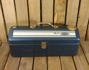 Blue Metal Toolbox, Vintage Toolbox, Metal Toolbox