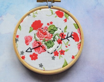 "Embellished heart embroidery hoop art in 3"" hoop. Home decor; embroidered art; Valentine's romantic gift"
